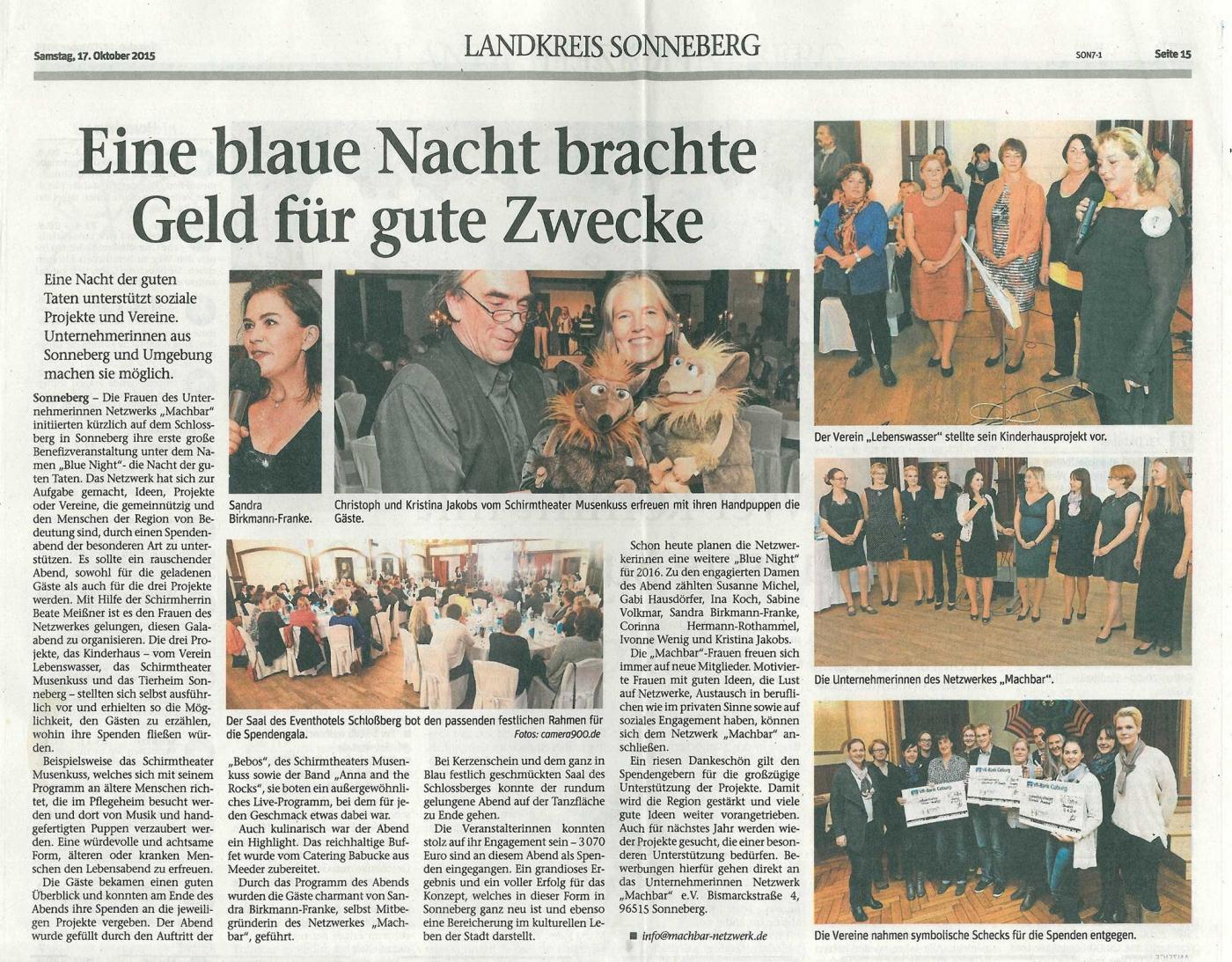 """Benefiz-Gala-Abend """"Nacht der guten Tat"""" – Spendenaktion für soziale Projekte"""